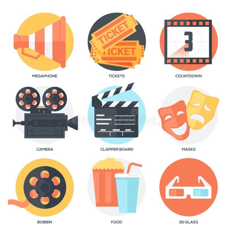 Cinema Icons Set (Megaphone, Tickets, Countdown, Camera, Clapper Board, Masks, Bobbin, Popcorn and Drink, 3D Glass). stock illustration