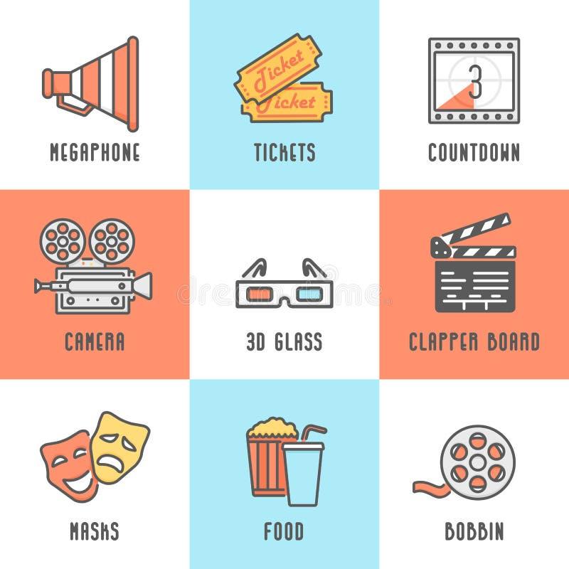 Cinema Icons Set (Megaphone, Tickets, Countdown, Camera, Clapper Board, Masks, Bobbin, Popcorn and Drink, 3D Glass). vector illustration