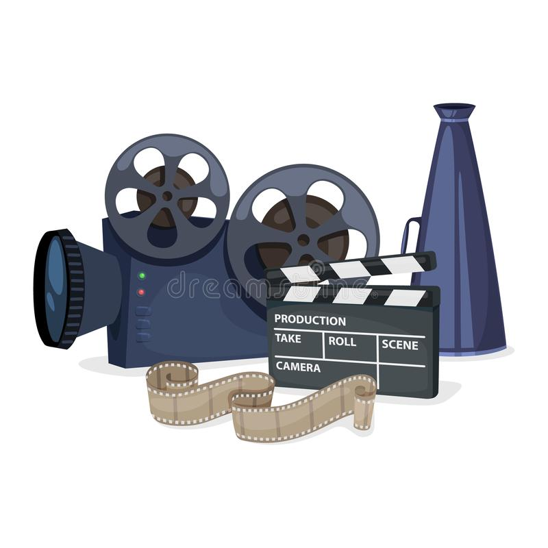 Cinema icons set. With movie projector, clapper board, film reel and megaphone. Vector stock illustration