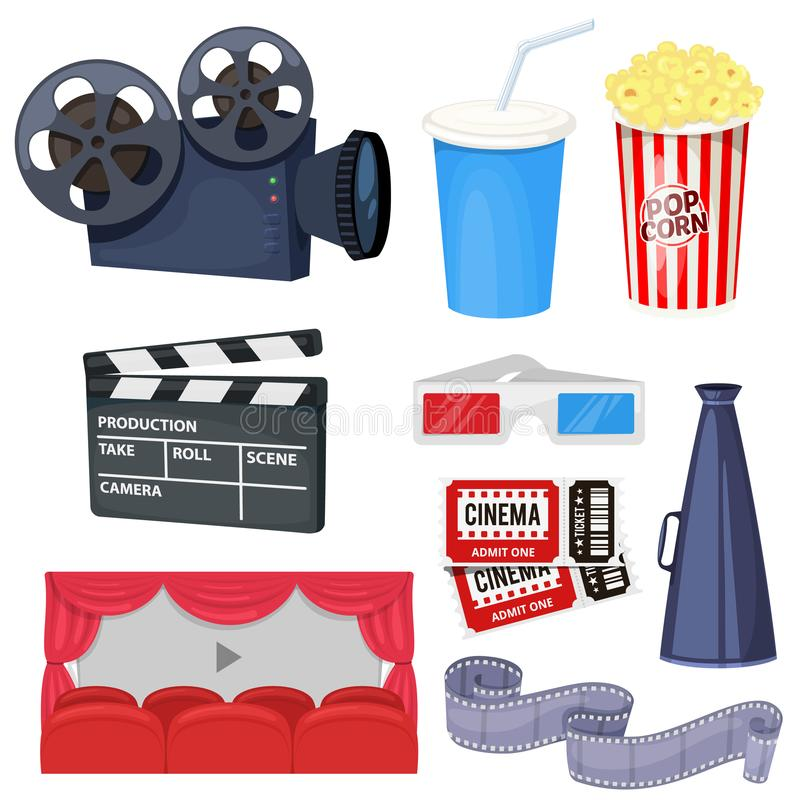 Cinema icons set. With movie projector, clapper board, film reel, popcorn, cola, tickets, megaphone and 3D glasses. Vector vector illustration