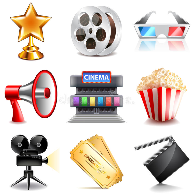Cinema icons vector set. Cinema icons detailed photo realistic vector set vector illustration