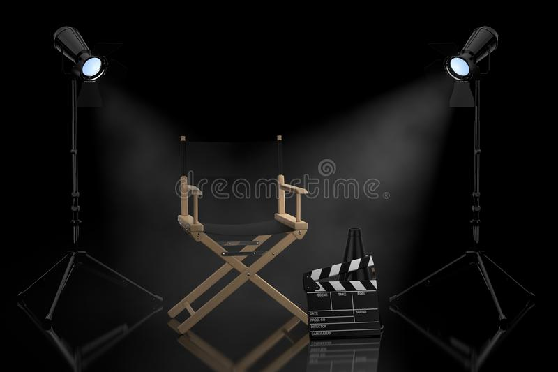 Cinema Industry Concept. Director Chair, Movie Clapper and Spot royalty free illustration