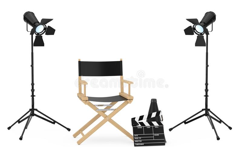Cinema Industry Concept. Director Chair, Movie Clapper and Spot stock illustration