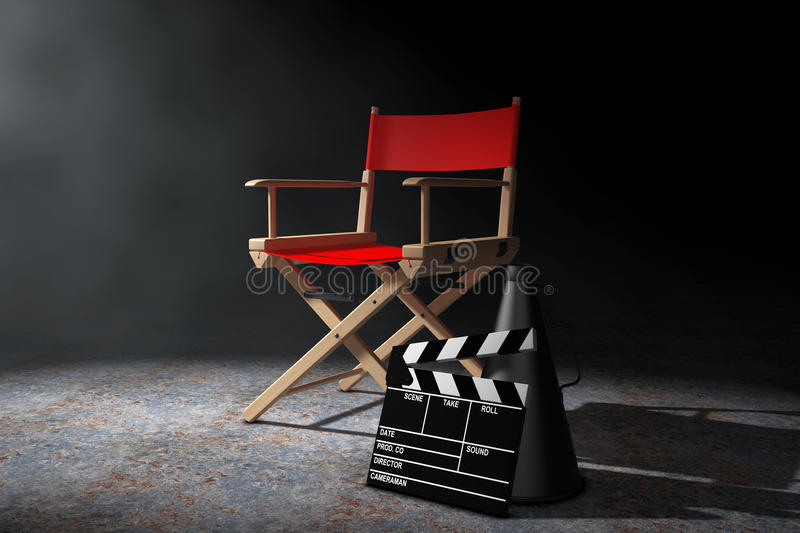 Cinema Industry Concept. Red Director Chair, Movie Clapper and M vector illustration