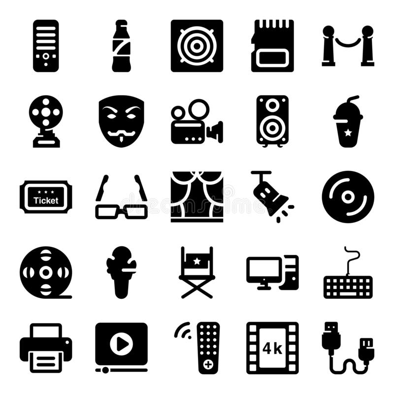 Cinema Instruments Solid Vector. Here is a pack of cinema instruments solid vectors showing imagery and notational visuals icons leading elements of movie vector illustration
