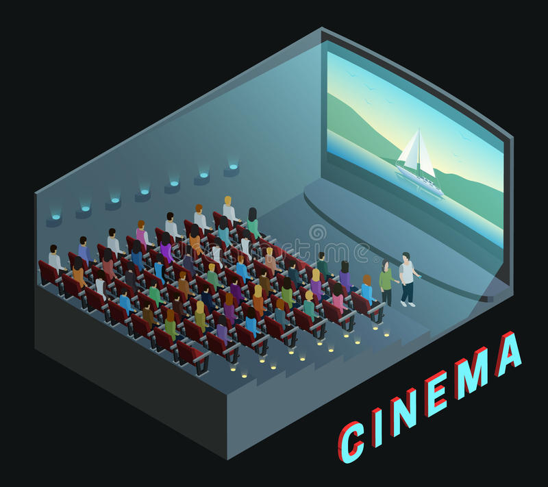 Cinema Interior View Isometric Composition Poster royalty free illustration
