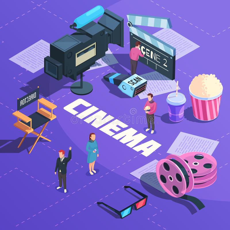 Cinema Isometric Composition stock illustration