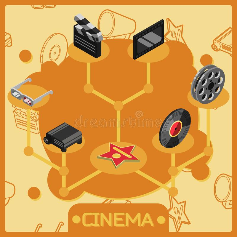 Cinema isometric concept icons royalty free illustration