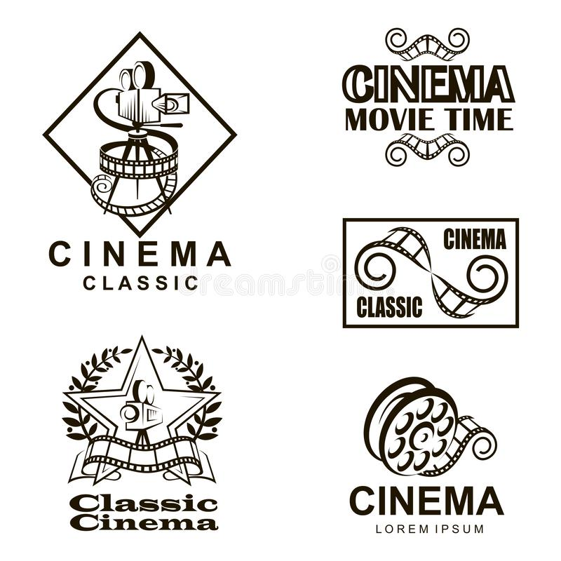 Cinema labels set. Collection of cinema labels isolated on white background royalty free illustration