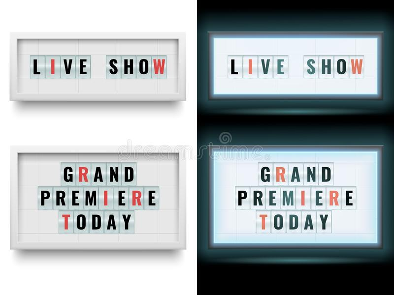 Cinema lightbox sign. Illuminated light box billboard panels or lcd screen. Vector isolated set stock illustration