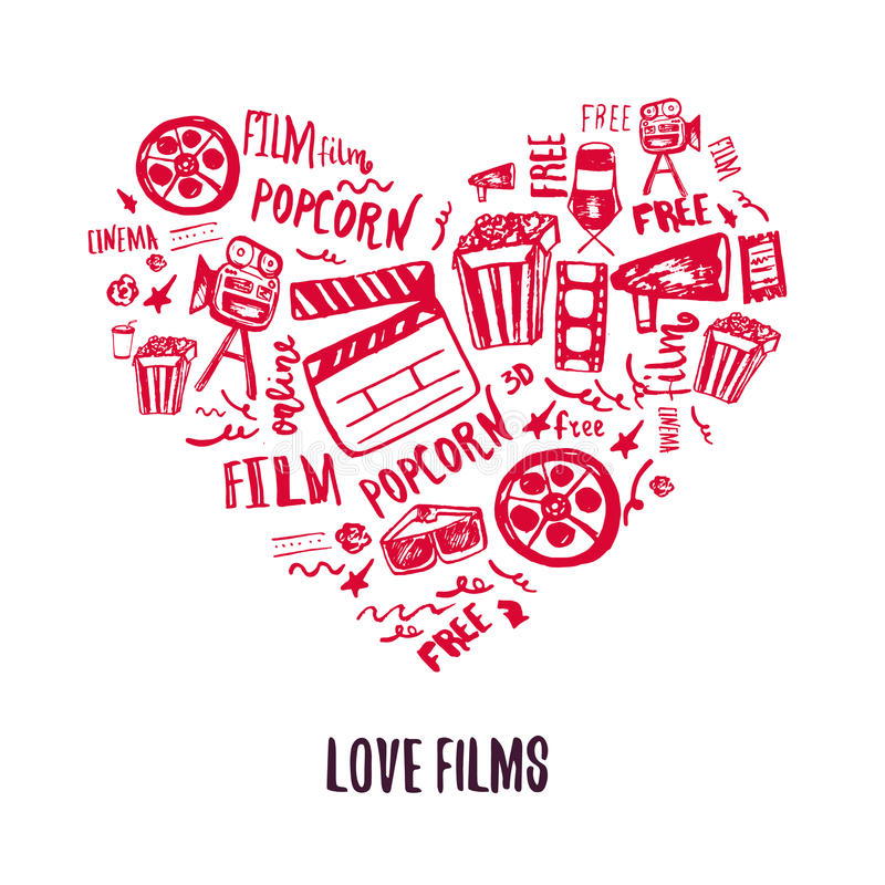 Cinema Love Banner with doodle hand-drawn items with attributes of film industry. Cinematography design items: camera royalty free illustration