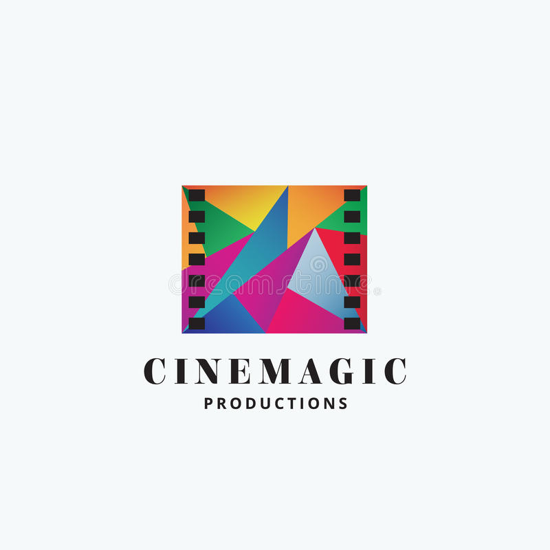 Cinema Magic Abstract Vector Sign, Emblem or Logo Template. Mosaic Filmstrip Symbol with Typography. Isolated vector illustration
