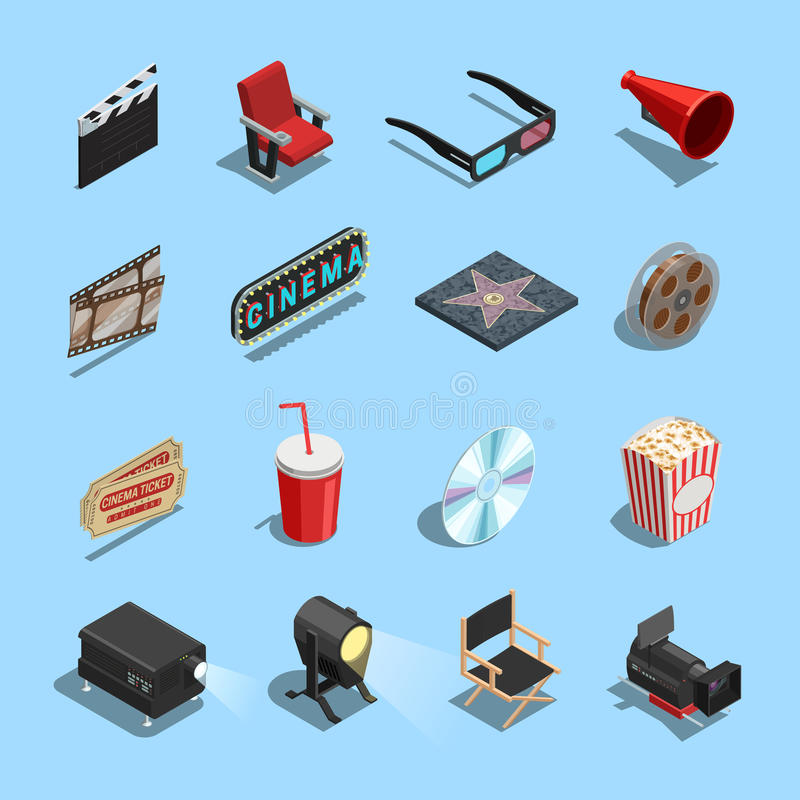Cinema Movie Accessories Isometric Icons Collection royalty free illustration