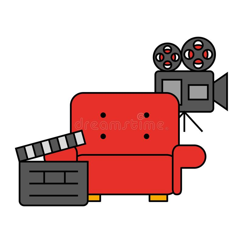 Cinema movie chair projector and clapboard royalty free illustration