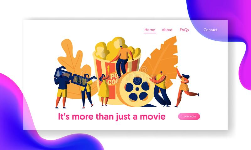 Cinema Movie Character with Popcorn and Drink Landing Page. Young People in 3d Glasses. Girl Carry Ticket on Premiere stock illustration