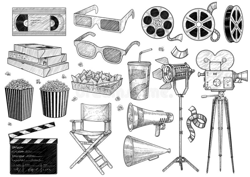 Cinema, movie, collection illustration, drawing, engraving, ink, line art, vector. Illustration, what made by ink and pencil on paper, then it was digitalized vector illustration