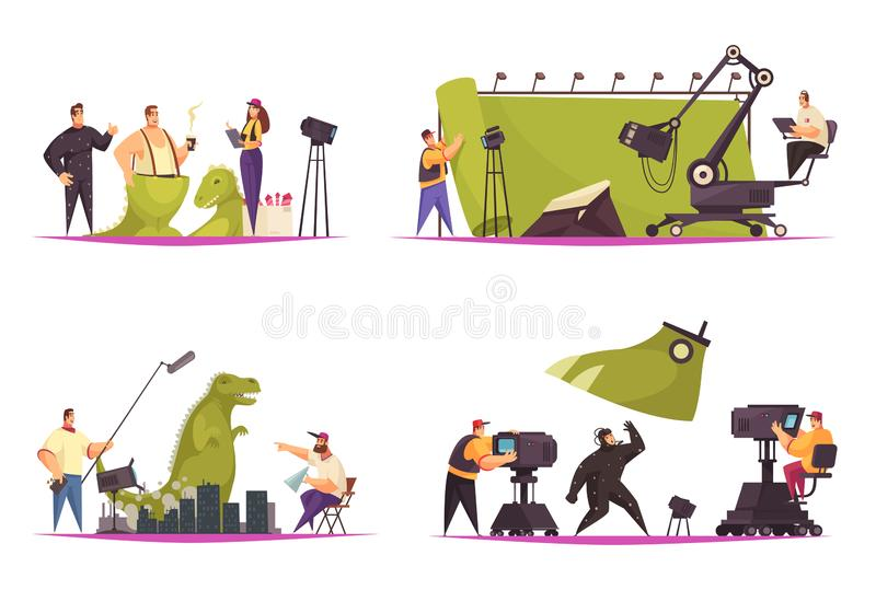 Cinema Movie Concept. Cinema movie film production concept 4 comic flat compositions with shooting actor in dinosaur costume vector illustration vector illustration