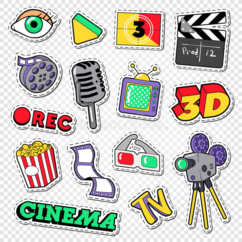 Cinema and Movie Doodle. Film Entertainment Stickers, Patches and Badges stock illustration