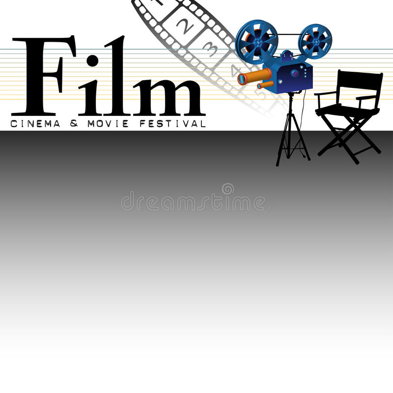 Cinema and movie festival. Abstract colorful illustration with numbered film strip, projector and movie director's chair. Film festival concept royalty free illustration
