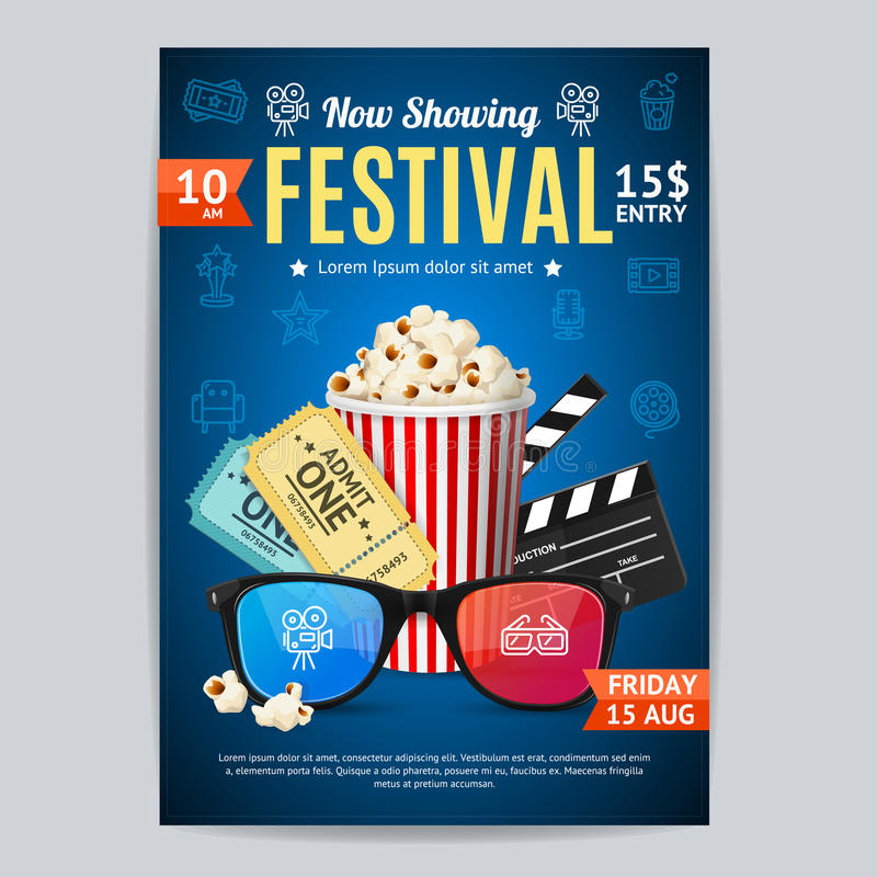 Download Cinema Movie Festival Poster Card Template Vector Stock