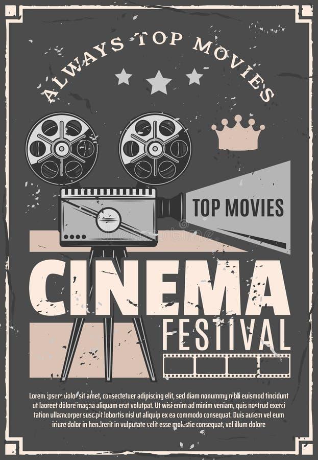 Cinema movie festival vector retro camera poster. Cinema festival or movie premiere retro advertisement poster. Vector vintage design of film camera or video stock illustration