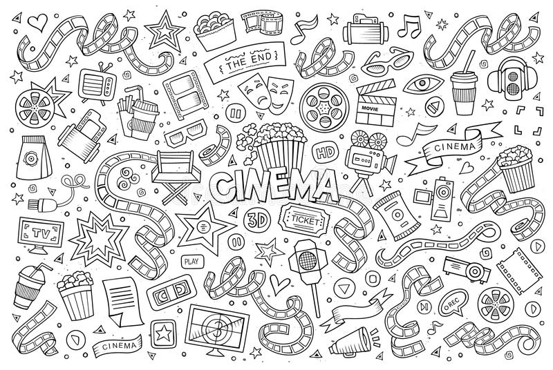 Cinema, movie, film doodles sketchy vector symbols. Cinema, movie, film doodles hand drawn sketchy vector symbols and objects royalty free illustration