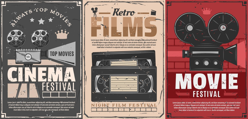 Cinema movie, film reel, projector, video tapes vector illustration