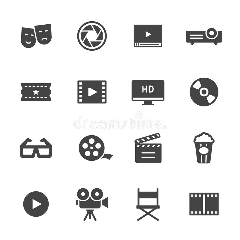 Cinema and Movie Icons. Cinema, film and movie icons. Vector icon set royalty free illustration
