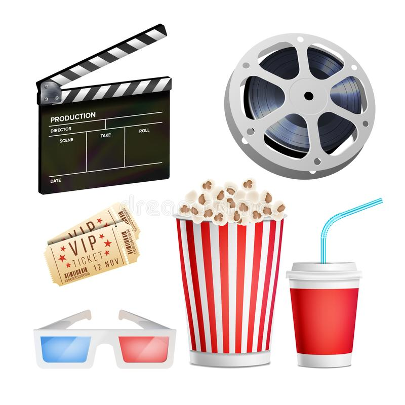 Cinema Movie Icons Set. Realistic Items Film Festival Directors Attributes TV. Cinematography Movie Festival Concept. Cinema Movie Icons Set. Realistic Popcorn vector illustration