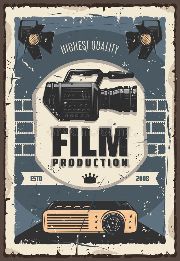 Film production, cinema or movie industry. Cinema and movie industry, retro film production. Shooting camera and lighters, old projector and crown sign. Devices vector illustration