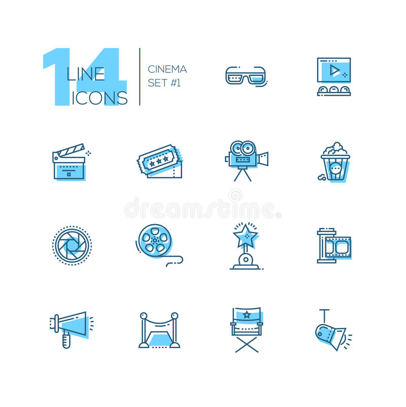 Cinema and movie line icons set. CInema and movie - set of modern vector line design icons with accent color. 3d glasses, film, pop corn, camera, award, ticket stock illustration