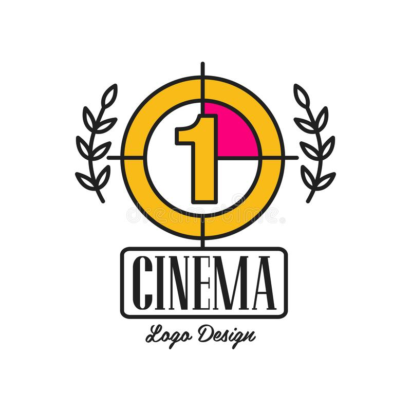 Cinema or movie logo template creative design with old retro filmstrip countdown, number one and laurel branches. Flat royalty free illustration