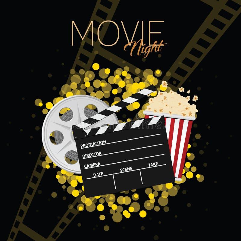 Cinema and movie night black background one. Cinema and movie night black art background one stock illustration