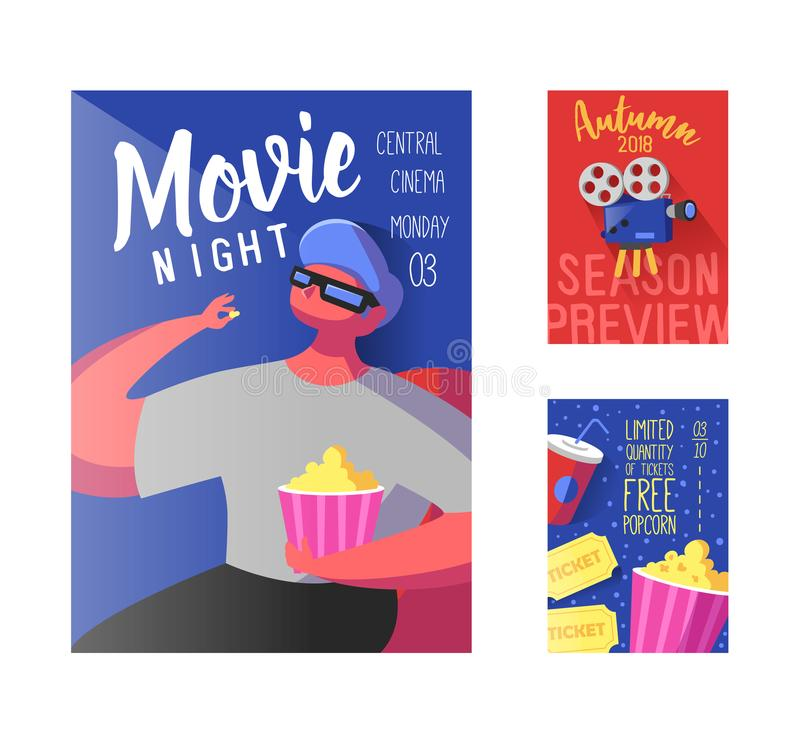 Cinema Movie Poster, Banner, Placard Template. Film Reel, Tickets, Pop Corn and Flat Character royalty free illustration