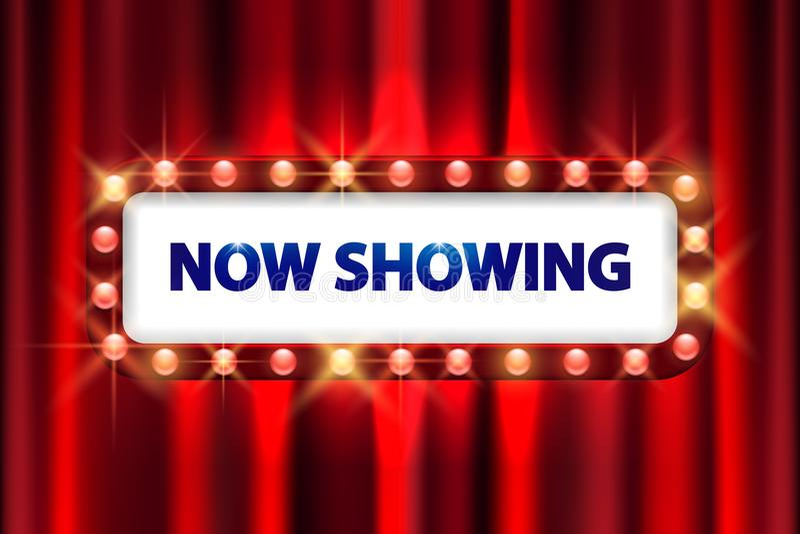 Cinema movie poster design. Theater sign or cinema sign. On curtain with spot light frame. vector illustration EPS 10 vector illustration
