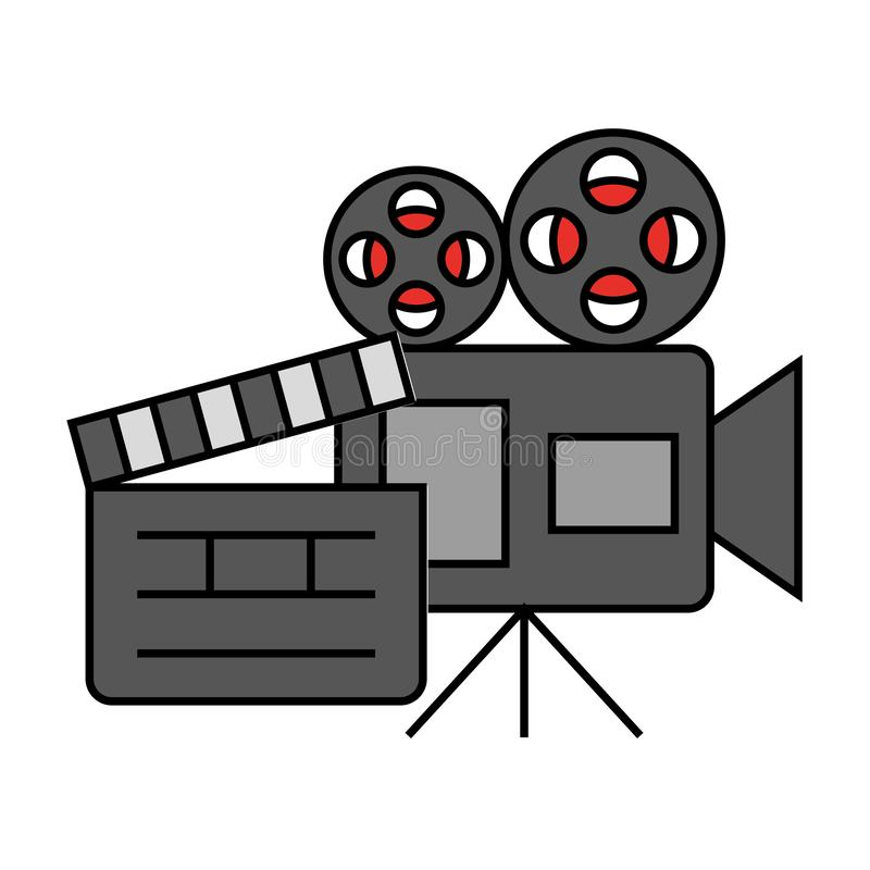 Cinema movie projector camera clapboard royalty free illustration