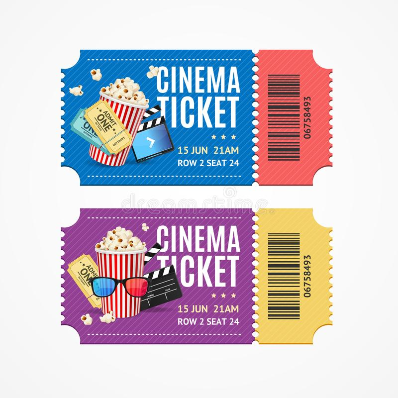 Cinema Movie Tickets Set with Elements. Vector. Cinema Movie Show Tickets Set with Elements Include of Snack Food Popcorn. Vector illustration of Two Ticket vector illustration