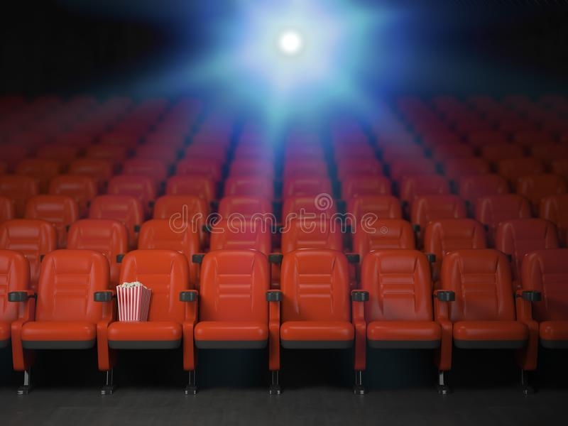 Cinema and movie theater concept background. Empty rows of red s. Eats with pop corn. 3d illustration royalty free illustration