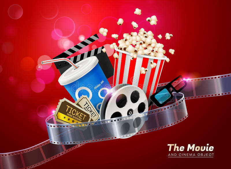 Cinema movie theater object on sparkling light background vector illustration