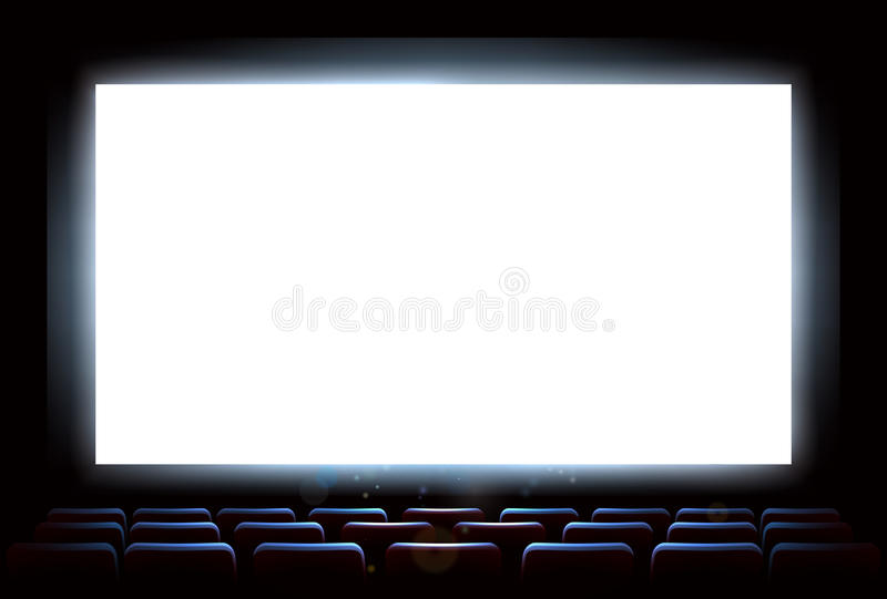 Cinema Movie Theatre Screen. An illustration of the interior of a cinema movie theatre with copyspace on the screen vector illustration
