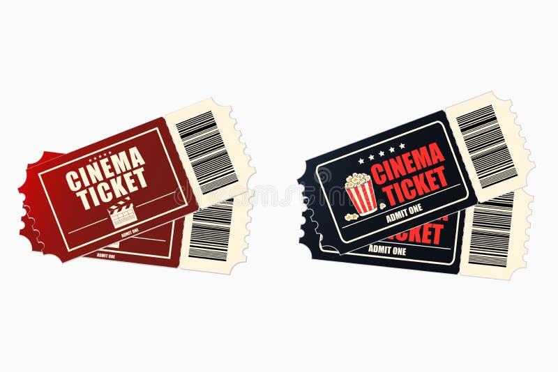 Cinema or movie tickets. Set of retro ticket to the cinema theatre. royalty free illustration