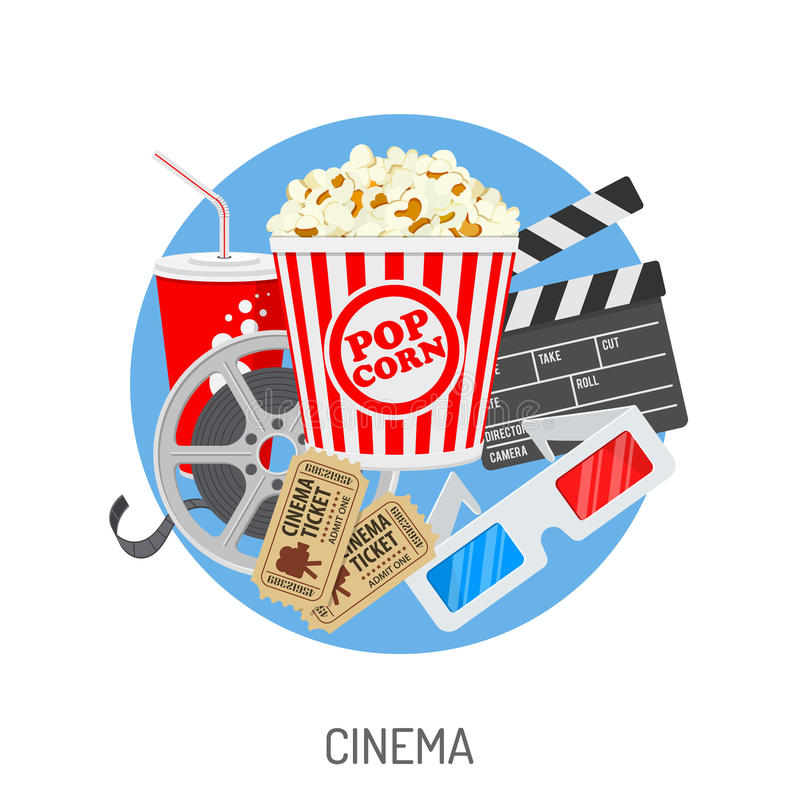 Cinema and Movie time. Concept with flat icons film reel, popcorn, paper cup, 3d glasses, clapperboard, cinema tickets. Isolated vector illustration stock illustration