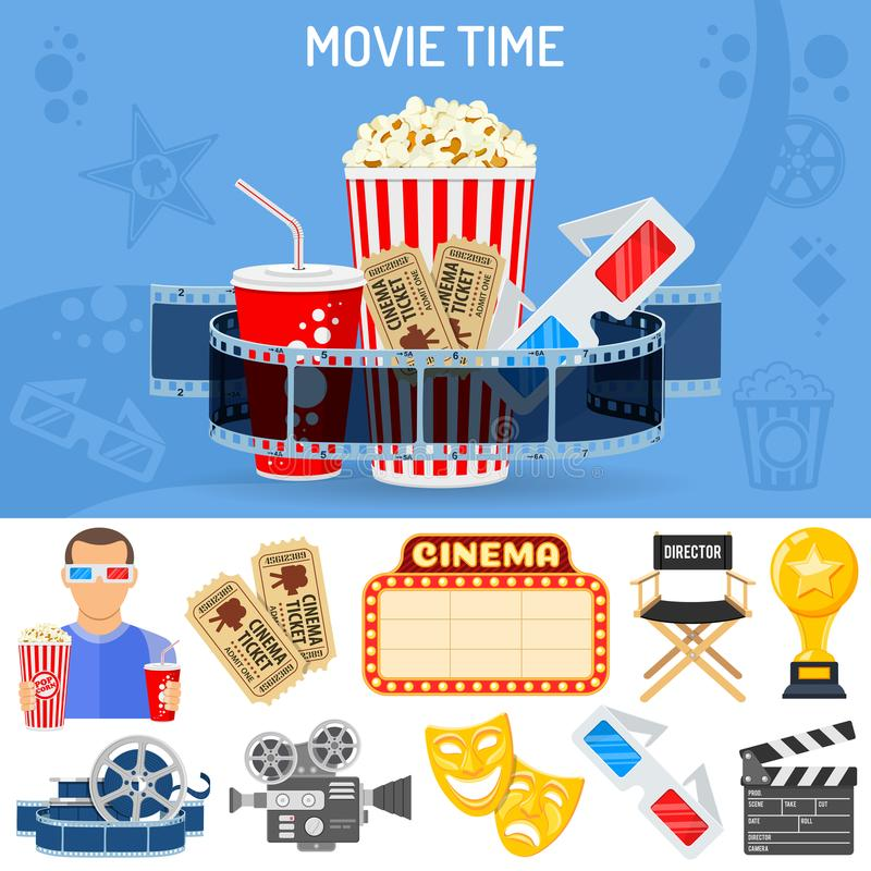 Cinema and Movie Concept. Cinema and Movie time concept with flat icons masks, 3D glasses, clapperboard and viewer with popcorn and soda in hands. Isolated stock illustration