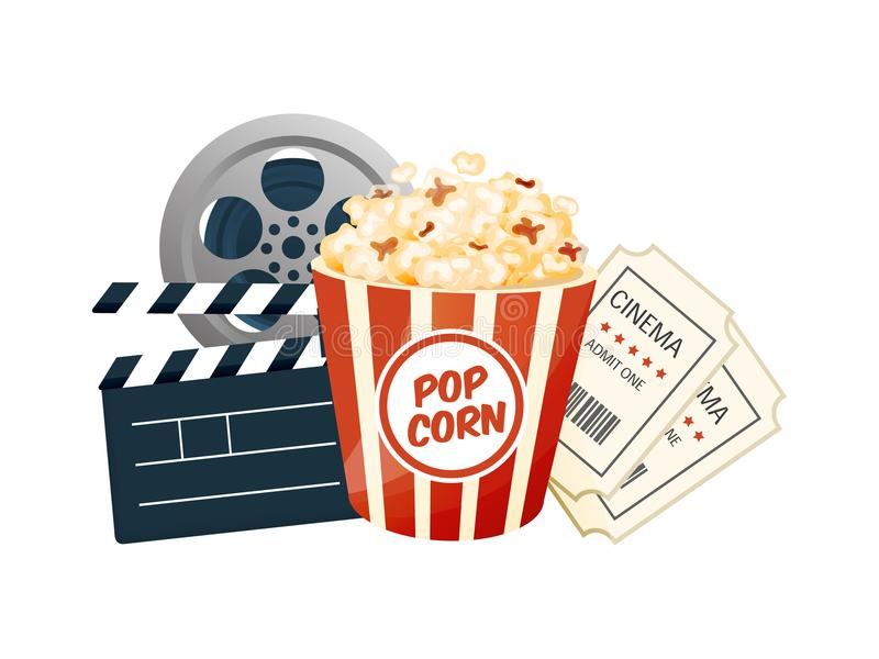 Cinema, movie time, concept. Movie theater object. Poster, banner. Cinema, movie time, concept. Movie theater object. Show with popcorn, filmstrip, tickets royalty free illustration