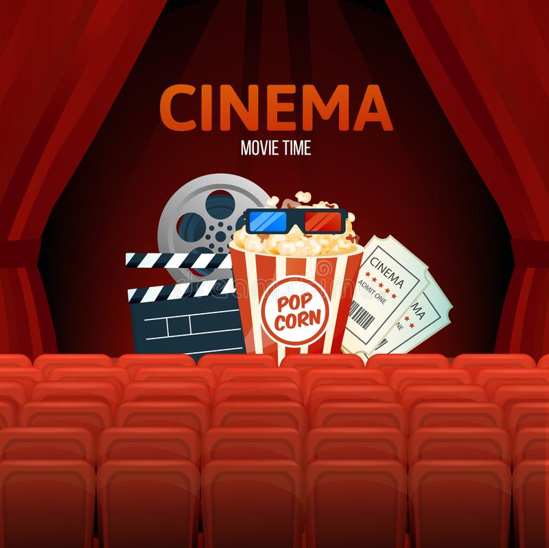 Cinema, movie time, concept. Show with seats, popcorn, filmstrip, tickets. Cinema, movie time, concept. Cinema movie theater object on curtain background. Show stock illustration
