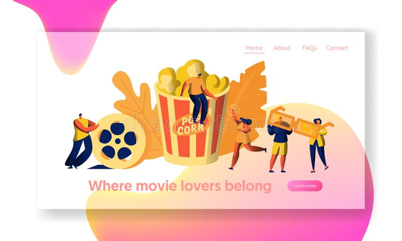 Cinema Movie Time with Popcorn and Drink Landing Page. Young People in 3d Glasses. Woman Carry Film Ticket stock illustration