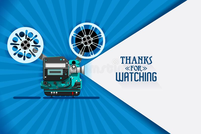 Cinema movie title screen vector. Cinema movie title screen concept. Thanks for watching. Vector design with retro looking movie projector with film reels and royalty free illustration