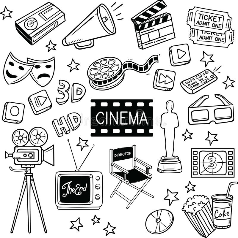 Cinema and Movie Vector Doodles. Cinema and movie object vector doodles. cartoon illustration isolated over white background royalty free illustration