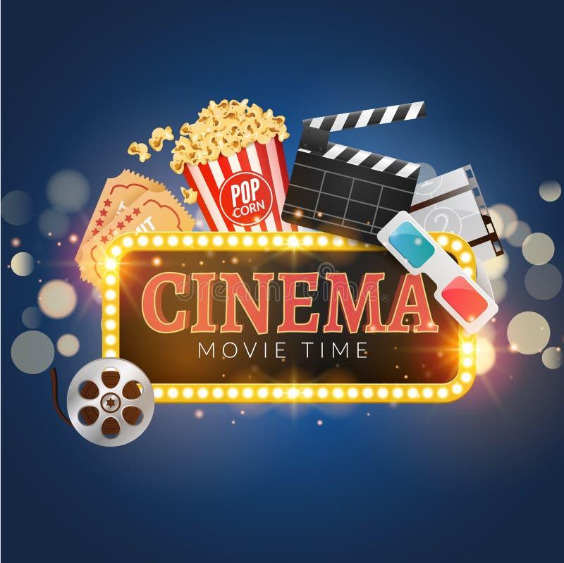 Download Cinema Movie Vector Poster Design Template Popcorn Filmstrip Clapboard Tickets
