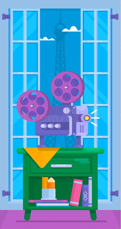 Cinema movie vector poster.Home movie watching.Vector illustration of film projector. Cinema movie vector poster.Home movie watching. Flat Vector illustration of royalty free illustration